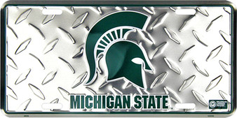 Hangtime Michigan State Spartans Diamond Cut NCAA metal License Plate