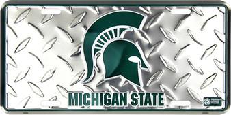 Hangtime Michigan State Spartans Diamond Cut NCAA metal License Plate
