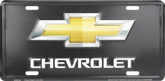 Hangtime Chevrolet Bowtie on Black background novelty license plate