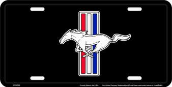 HangTime Mustang 6 x 12 Embossed aluminum license plate black background