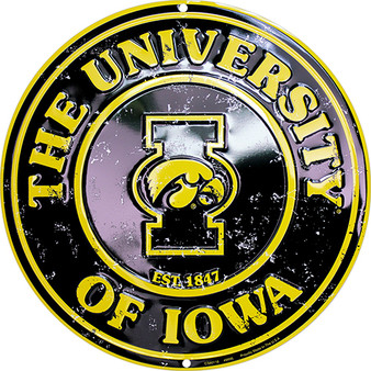 Hangtime Iowa Hawkeyes 12 inch metal nostalgia sign