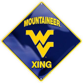 Hangtime West Virginia Mountaineers 12 inch metal crossing sign