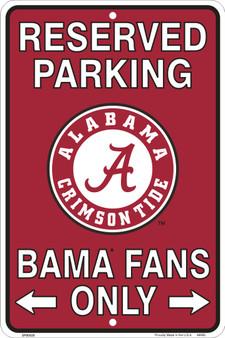 Hangtime Alabama (Bama) Fans Reserved Parking Sign Metal 8 x 12 embossed
