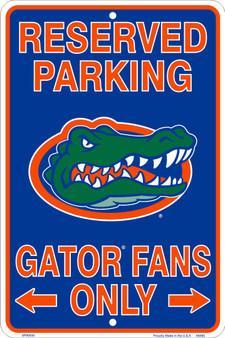Hangtime Florida Gators Fans Reserved Parking Sign Metal 8 x 12 embossed
