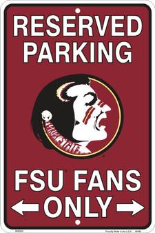 Hangtime Florida State Seminoles 8 x 12 embossed metal parking sign
