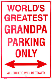 Hangtime World Greatest Grandpa metal parking sign 8 x 12 inches