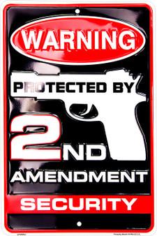 Hangtime 2nd Amendment Security 8 x 12 metal sign