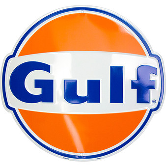Hangtime Gulf Oil Die cut sign 12 inches in dimaeter