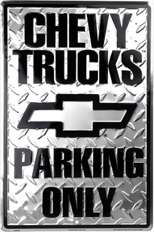 Hangtime Chevy Truck parking 8 x 12 sign diamond embossed background