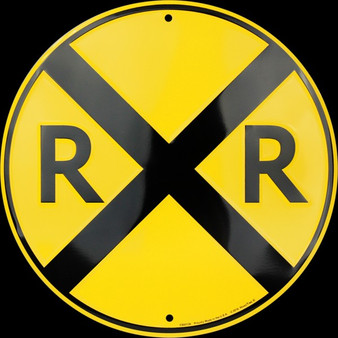 Hangtime Railroad Crossing round sign 12 inches in diameter
