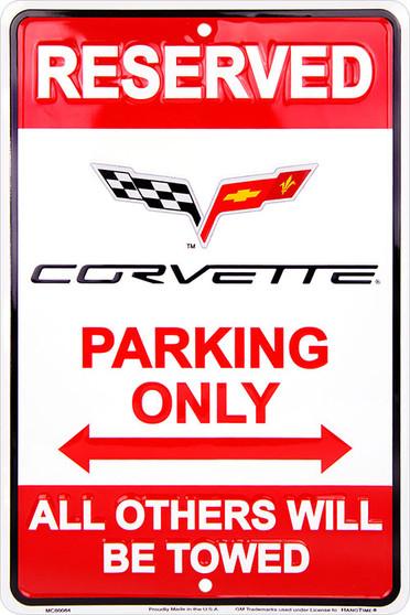 HangTime Corvette Parking Only 8 x 12 Metal Sign