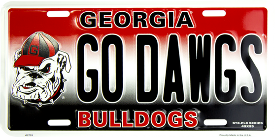 HangTime Georgia Bulldog  PL8 GO DAWGS license plate