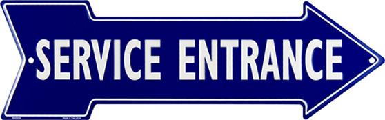 Service Entrance Embossed aluminum arrow sign 4 x 20