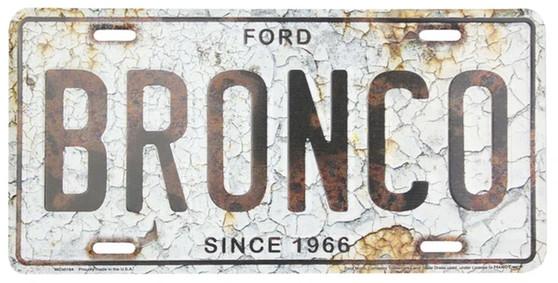 Bronco Rust Background 6 x 12 Embossed aluminum license plate