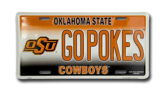 OSU GO POKES 6 x 12 Embossed aluminum license plate