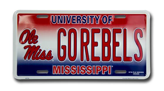 Ole Miss GO REBELS 6 x 12 Embossed aluminum license