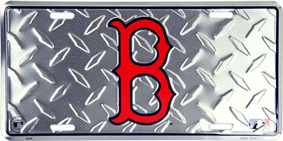 Boston Red Sox  diamond background license plate