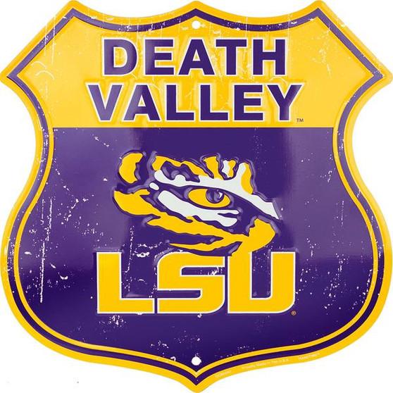 LSU Death Valley 12 inch die cut route sign