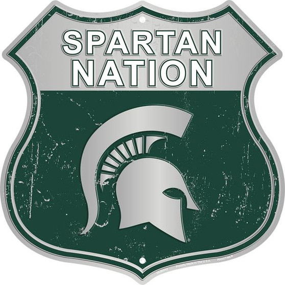 Michigan State University - Spartan Nation 12 inch die cut route sign