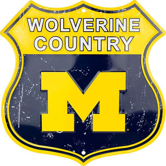 University of Michigan  - Wolverine Country Twelve inch 12 inch die cut route sign