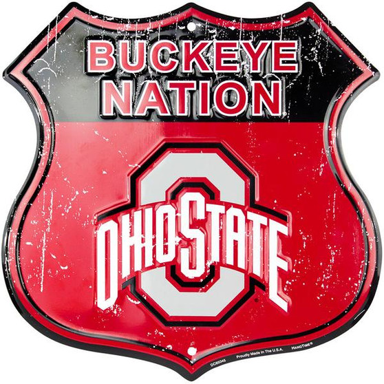 Ohio State - Buckeye Nation 12 inch die cut route sign