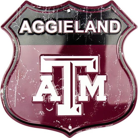 Texas A & M - Aggieland Twelve inch 12 inch die cut route sign