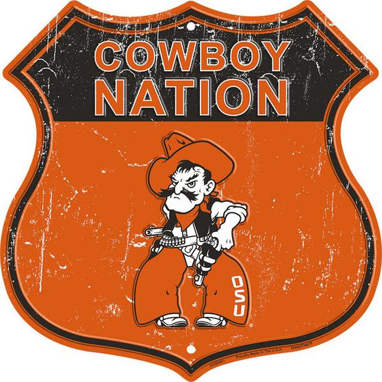 Oklahoma State - Cowboy Country 12 inch die cut route sign