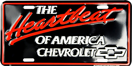 HangTime Chevy Heartbeat of America 6 x 12 Embossed aluminum license plate