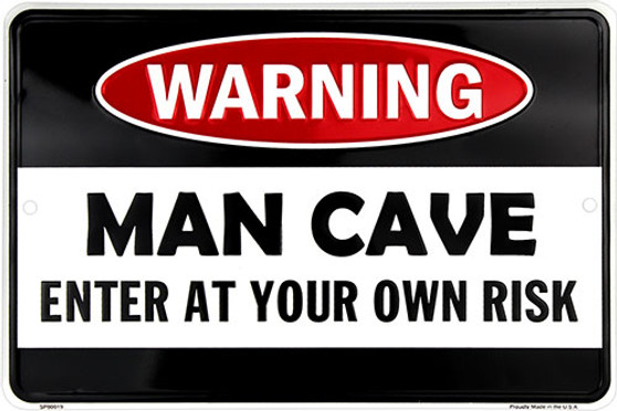 HangTime Man Cave embossed aluminum novelty sign 8 x 12