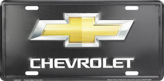 Hangtime Chevrolet Bowtie on Black background novelty license plate