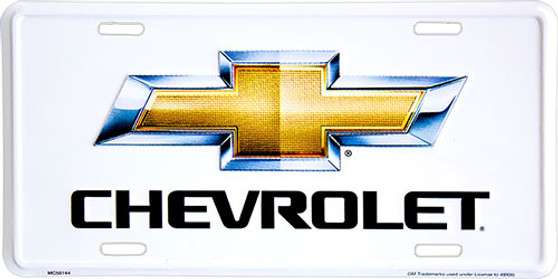 Hangtime Chevy Bowtie metal license plate