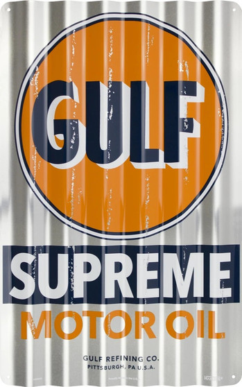Hangtime Gulf Supreme Motor Oil corrugated sign 12 x 18 inches