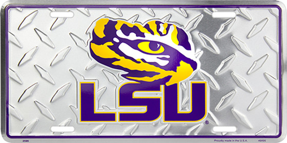 LSU diamond embossed metal license plate 6 x 12 inches
