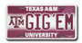 Texas A&M GIG'EM 6 x 12 Embossed aluminum license plate