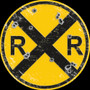 Railroad Crossing Sign with simulated bullet holes