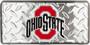Hangtime Ohio State Buckeyes metal license plate diamond background