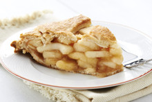 Fresh Baked Apple Lattice Pie Slice