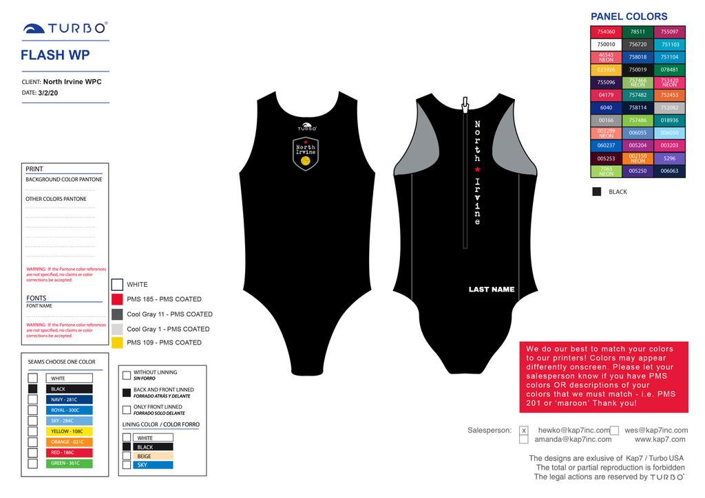 North Irvine Water Polo Club Flash Suit - with Name