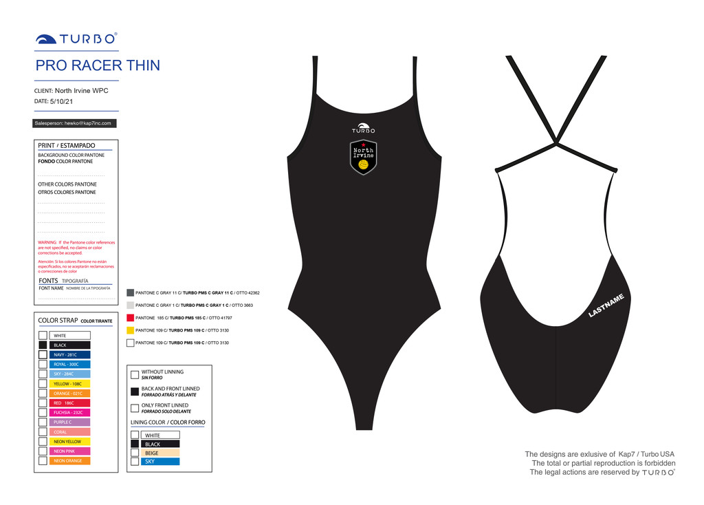 North Irvine Water Polo ProRacer Thin Strap - with Name
