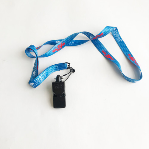 840-B KAP7 Fox 40 Classic Whistle Black with K7 Lanyard
