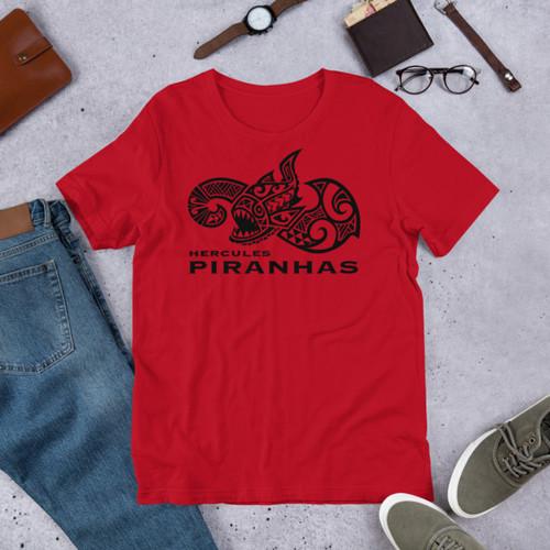 Hercules Piranhas Men's Red Short-Sleeve Unisex T-Shirt