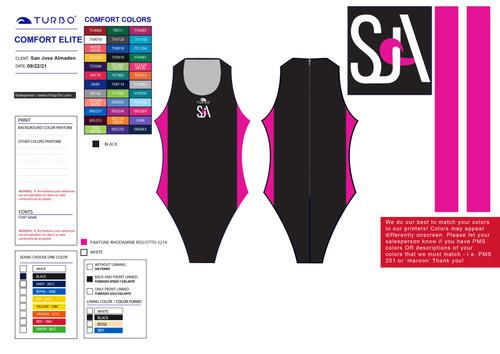 San Jose Almaden Water Polo Club Girl's Comfort Elite Suit