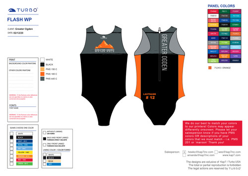 Greater Ogden Water Polo Club Flash Suit - with NAME and/or NUMBER OPTION
