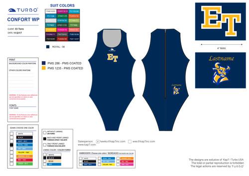 El Toro High School Water Polo  Comfort with Name