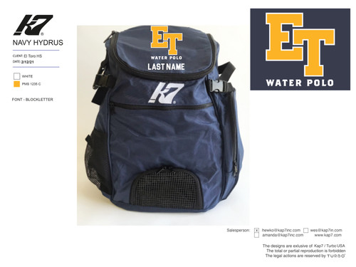El Toro High School Water Polo Backpack with Name