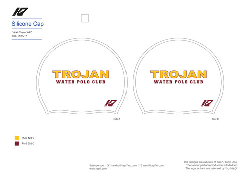 White Trojan Water Polo Club Silicone Cap