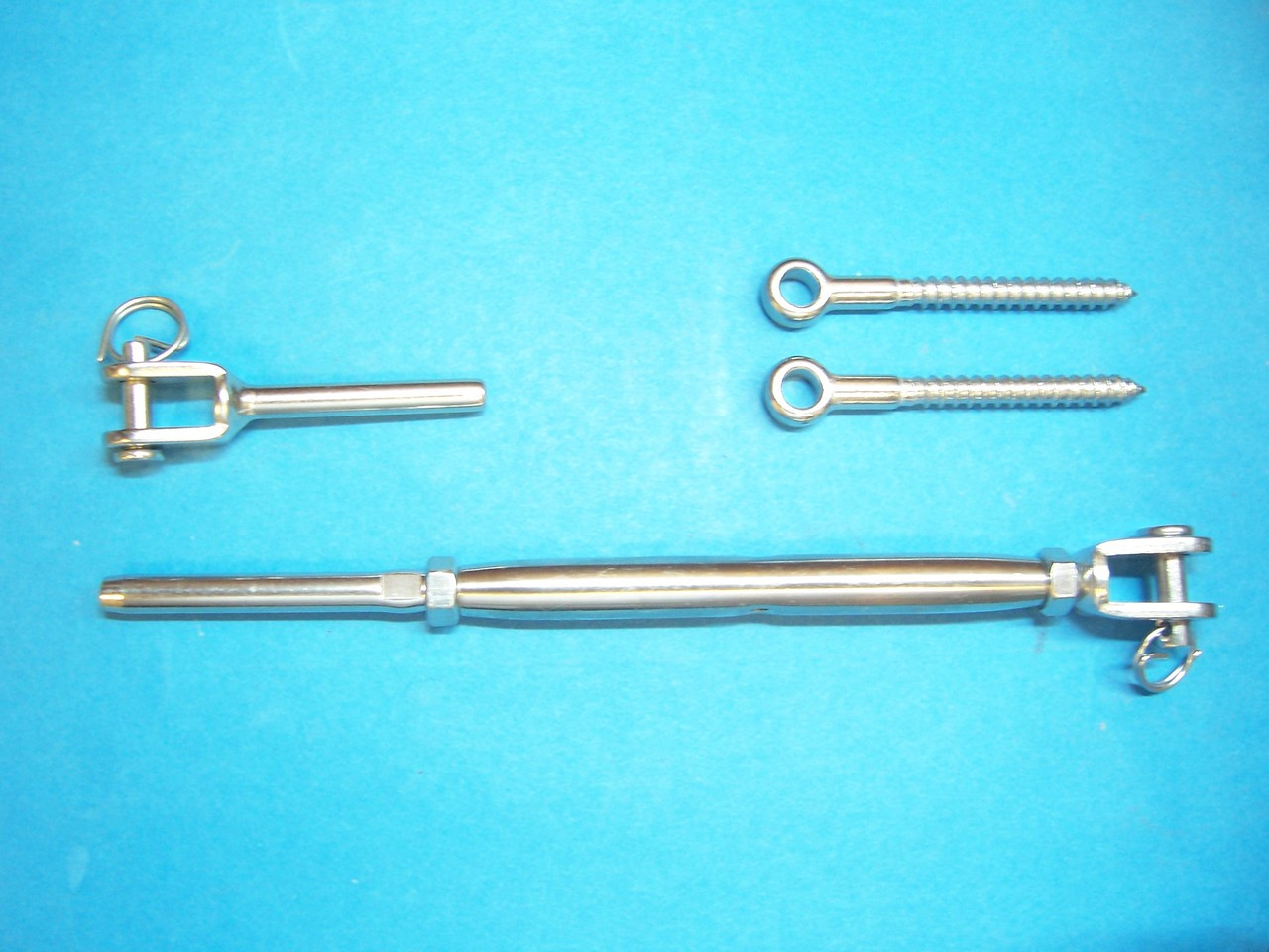 "Type 316 Stainless Steel Tensioner Set for Cable Railing with Jaw - 1/8"" Cable + 2 Eye Screws"
