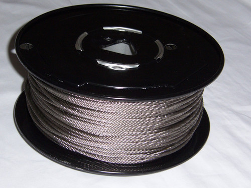 """316 Stainless Steel Wire Rope 1/8"""", 7x7, 250 ft reel"""