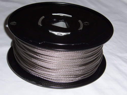 """316 Stainless Steel Wire Rope 1/8"""", 7x7, 500 ft reel"""