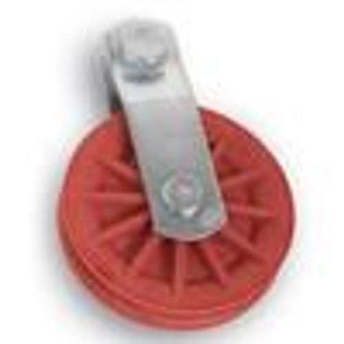 "3-1/2"" Red Nylon Composite Pulley"